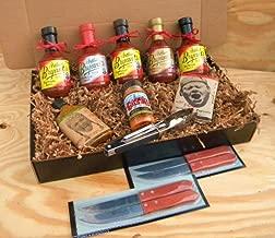 Arthur Bryants Barbecue Sauce Premium Gourmet Box Set [Includes 5 Bottles of Sauces, KC Seasoning Rub, Honey Cayenne Hot Sauce, Hot & Spicy Popcorn, Stainless Steel Tongs & 4 Premium Wood-Handled Steak Knives]
