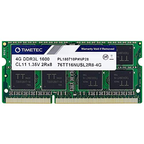 Timetec Hynix IC 4GB DDR3L 1600MHz PC3-12800 Unbuffered Non-ECC 1.35V CL11 2Rx8 Dual Rank 204 Pin SODIMM Computer Portatile Memorie Module Upgrade (4GB)