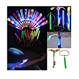 12 pieces LED Light Up Glowing Slingshot Flying Helicopter Flashing Bright Lights Toy