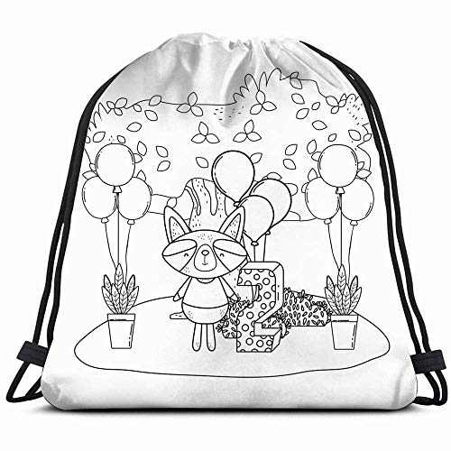 Ccsoixu Raccoon Balloons Helium Field Animals Wildlife Air Holidays Drawstring Backpack Gym Dance Bags for Girls Kids Bag Shoulder Travel Bags Birthday Gift for Daughter Children Women