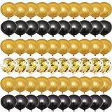 tarumedo 60 globos dorados y negros de látex con perlas doradas y confeti, globos de helio para bodas, niñas, niños, cumpleaños, graduaciones, fiestas, decoración de baby shower, 30 cm