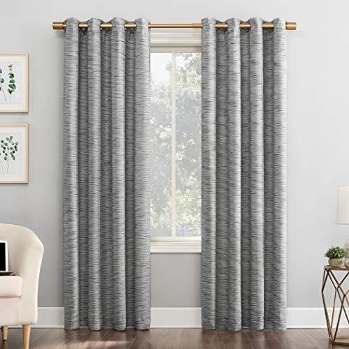 "Sun Zero Kendrick 2-Pack Woven Strié Thermal Extreme 100% Blackout Grommet Curtain Panel Pair, 50"" x 96"", Gray"