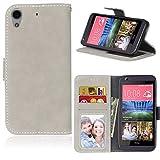 LMAZWUFULM Hülle für HTC Desire 650 / 626G / 628 (5,0 Zoll) PU Leder Magnet Brieftasche Lederhülle Retro Gefrostet Design Stent-Funktion Ledertasche Flip Cover für HTC 650 / 626G / 628 Reis-weiß