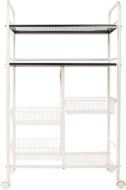 Cannes Double Row Mesh Basket Multi-functional Kitchen Cabinet, 4 Shelf Metal Rolling Kitchen Storage Cart Organizer, Microwa