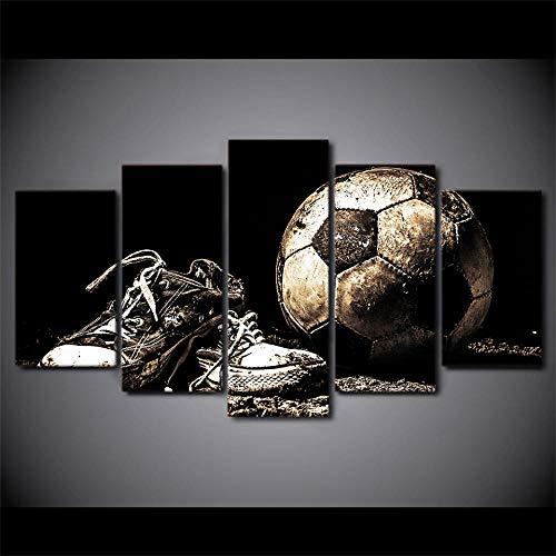 Slbtr Leinwanddrucke 5 Stück Leinwand Gemälde Fußball Sport Fußball Schuhe Wandbild Sport Fußball Schuhe Home Sofa Hintergrund Wanddekoration Puzzle