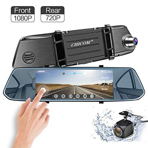 CARMATE Fotocamera a specchio e touch screen con vista posteriore regolabile, videoregistratore per auto con doppio obiettivo HD e sensore di assistenza al parcheggio