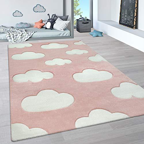 Paco Home Alfombra Infantil, Alfombra Pastel Habitación Infantil con Nubes 3D Y Motivos De Estrellas, tamaño:200x290 cm, Color:Rosa 4