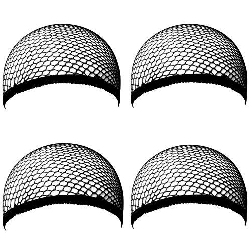 [4 Stück] Ouinne Perücke Kappen Caps Nylon Haarnetz Dehnbare für Frau und Mann, Schwarz