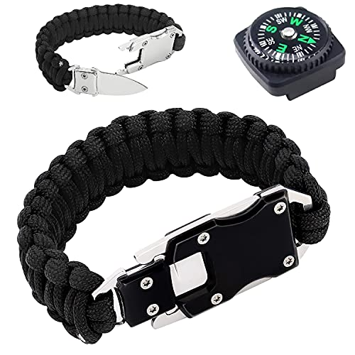 Paracord Survival Bracelet, 10-5/8 inches Tactical Self-defense Braided Wristband with Knife Blade for Hiking, Mountaineering, Camping, Fishing & Hunting- Useful Handy Tool in Daily Life (Silver)