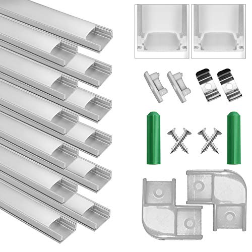 Perfil de Aluminio, 12 Pack 1M/3,3ft U Forma, Cubierta...