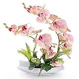 Yobansa Decorativi Real Touch Orchidea Finta Bonsai Fiori Artificiali con Imitazione Vasi da Fiori in Porcellana Phalaenopsis Composizione Floreale per la Decorazione Domestica (Pink 03)