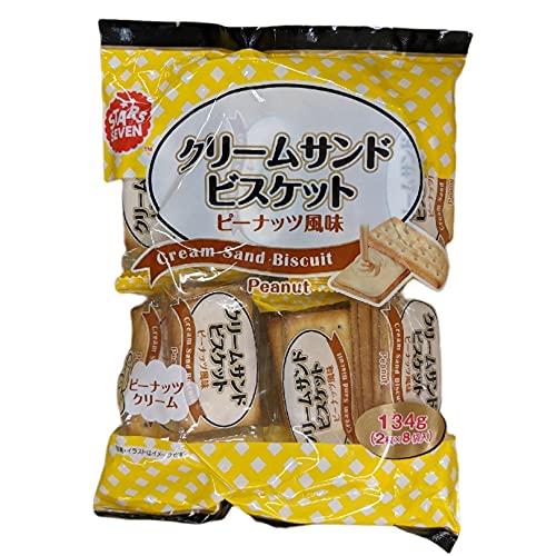 スターズセブン・ジャパン(STARS SEVEN) クリームサンドビスケット ピーナッツ風味 1ケース 134g16枚入り(2枚×8p)×16袋 海外輸入品 まとめ買い おやつ お菓子 おつまみ (ピーナッツ風味)