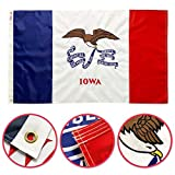 Winbee Iowa State Flag 3x5 Ft - Premium Embroidered, Long Lasting 300D Nylon, Sewn Stripes, Brass Grommets and UV Protected. Best American Iowa Flag Great for Outdoor/Indoor Display.