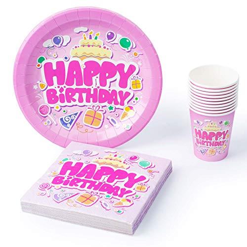 UMOI Einweg Geburstag Partygeschirr Set - 30 Hochwertige Pappteller, 30 Pappbecher und 60 Servietten für den Kindergeburstag 120tlg. (Pink)