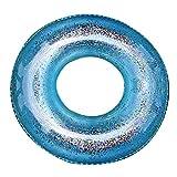 WEARRR Pequeño Roaming Lentejuelas Transparente Inflable círculo Adulto niños Anillo de natación Piscina Inflable Flotador Adulto niños Piscina Fiesta (Color : Blue 70cm)