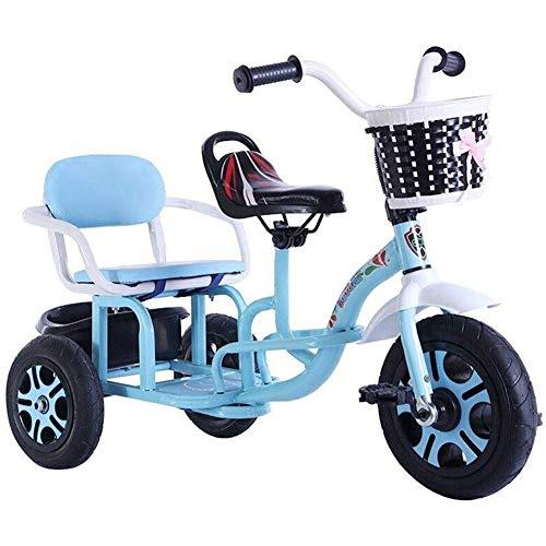 Triciclo Niños triciclos tándem de la bicicleta, triciclo de niños multifunción, puede traer gente del asiento doble Yendo presente fuera del triciclo Opciones de cumpleaños del bebé ( Color : Blue )