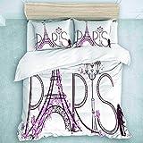 Juego de Funda nórdica de 3 Piezas, Torre Eiffel con Letras de París, colección de Ropa de Cama para Adolescentes y niños