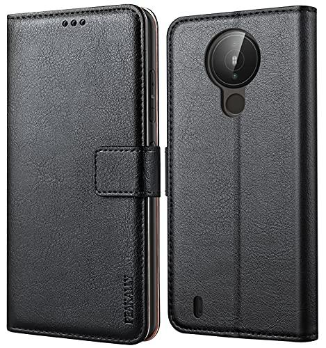 Peakally Kompatibel mit Nokia 1.4 Hülle, Leder Tasche Flip Hülle [Standfunktion] [Kartenfächern] PU-Leder Schutzhülle Brieftasche Handyhülle für Nokia 1.4-Schwarz
