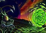 PHMOJEN Green Portal Backdrop, Vinyl 7x5ft Sci-fi Animation Space Escape Theme Background, Photo Studio Props LYPH1534
