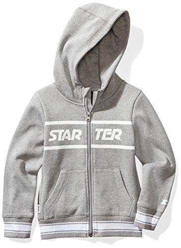 Starter Girls' Zip-Up Logo Hoodie, Amazon Exclusive, Vapor Grey Heather with Striped Rib, L (10/12)