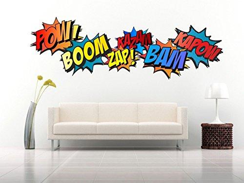 Superheld Comic Worte Retro Kapow Boom ZAP BAM Wandtattoo Kit Aufkleber Art, Vinyl, Large pack - total sheet 140cm high