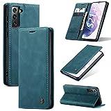 KONEE Hülle Kompatibel mit Samsung Galaxy S21 Plus 5G, Lederhülle PU Leder Flip Tasche Klappbar Handyhülle mit [Kartenfächer] [Ständer Funktion], Cover Schutzhülle für Samsung Galaxy S21+ - Blaugrün
