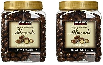Kirkland Signature Milk Chocolate Roasted Almonds 3 LBS JAR, DFBoBK 2 Pack