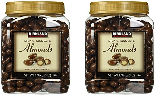 Kirkland Signature Chocolate con leche almendras tostadas 3 libras (48 oz) tarro, DFBoBK paquete de 2