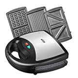 Aicok Sandwich Toaster, Waffle Maker, Panini Maker, 800-Watts, 3-in-1 Detachable Non-Stick Coating, LED