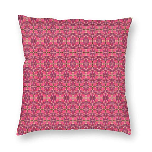 Pillow Covers 20x20 Inches Decorations,Patchwork Style Floral Elements Geometric Squares with Kaleidoscopic Pattern,Throw Pillowcase Holiday Cushion Case for Home Decor