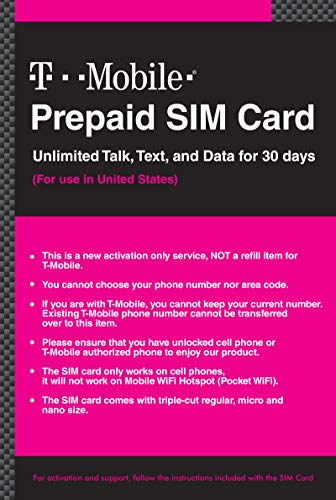 T-Mobile Prepaid SIM Card Unlimited Talk, Text, and Data (UNL Talk, Text, Data 30 Days)