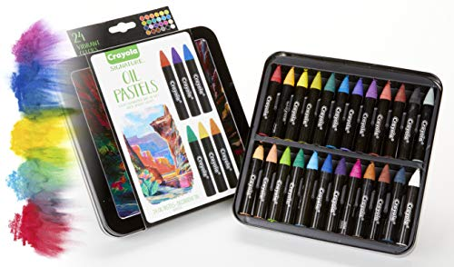 Crayola Oil Pastel Set with Decorative Case, Water-Soluble, Great For Watercolor Effects, 24 Colors