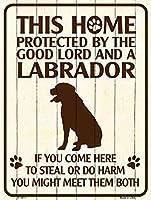 Smart Blonde ビンテージ風 英語版 おしゃれな 猛犬注意の看板 プレート 犬がいます 屋外OK 錆びないアルミ製 (レギュラー (23x30.5cm), ラブラドールレトリバー) P-1571