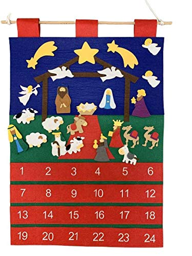 Good Ruby Felt Advent Calendar for Kids, Hanging Countdown to Xmas, Calendars with Pockets and 24 Nativity Themed Ornaments (Nativity Stable)
