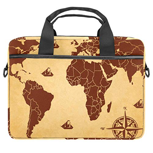 Laptop Bag World Map Brown Compass Notebook Sleeve with Handle 13.4-14.5 inches Carrying Shoulder Bag Briefcase