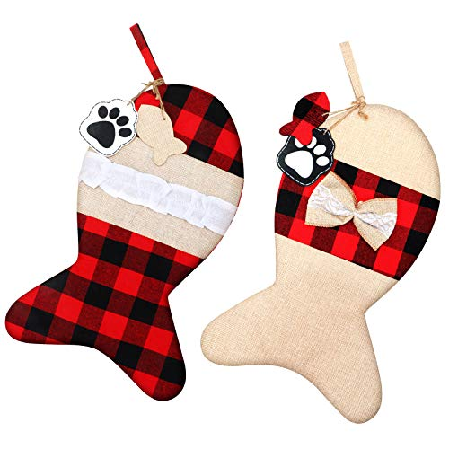 2 Pieces Burlap Pet Christmas Stockings Buffalo Plaid Large Fish Shaped Bow Pets Christmas Stockings for Christmas Tree Home Party Decorations