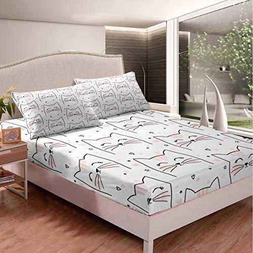 Lindo gato sábana bajera ajustable con estampado de gatitos de dibujos animados juego de cama para niños y niñas, decoración de la habitación de los niños, cama con 2 fundas de almohada