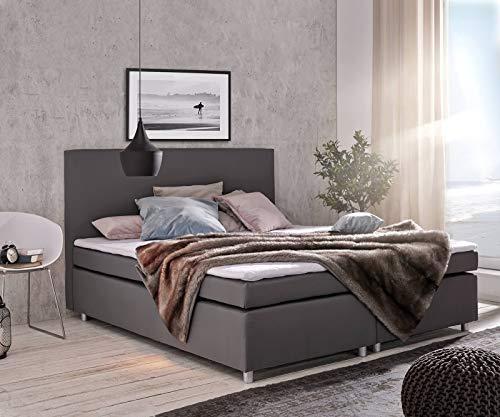 DELIFE Bett Paradizo Grau 180x200 cm Kingsize Matratze Topper Federkern Boxspringbett
