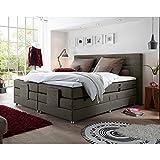 Lomadox® Boxspringbett Hotelbett Doppelbett in Stone grau, Komfort Topper, 180x200 cm, H3/H4, elektrisch verstellbar, Taschenfederkern-Matratze