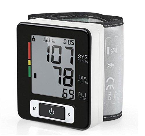 Monitor de Presión Arterial de la Muñeca, Probador Automático de BP Digital con Gran LCD Retroiluminado, Detector de latidos cardíacos irregulares, Indicador IHB