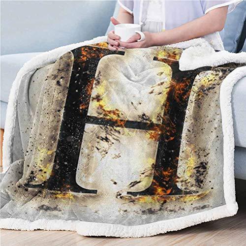 ParadiseDecor 50'x60' Letter H Sherpa Throw Plush Blanket Blanket for Bed Couch Chair H Symbol Ablaze Design Alphabet Symbol Conflagrant Background Illustration Tan Black Orange