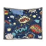 Superhero Tassel Tapestry Throw Blanket with Fringe Retro Comic Book Pop Art Speech Humor Expressions Boom Scream Splash Kids Wall Hanging Microfiber Cotton Warm Chair Living Room Bedroom 70x51IN