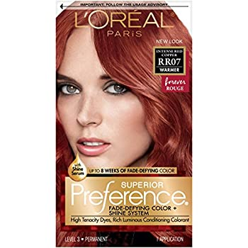 L Oreal Paris Superior Preference Fade-Defying + Shine Permanent Hair Color RR-07 Intense Red Copper Pack of 1 Hair Dye