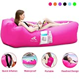 FRETREE Inflatable Lounger Air Sofa Hammock - Portable Anti-Air Leaking & Waterproof Pouch Couch and Beach Chair Camping Accessories for Parties, Travel, Camping, Picnics, Pool,Red