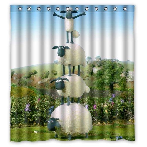 Bart671Lu Duschvorhang, Shaun das Schaf, personalisierbar, wasserdicht, 152,4 x 183,9 cm