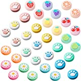 36 Pieces Soft Silicone Thumb Grip Caps Replacement Cute Cat Paw Flower Fruit Design Thumb Cover Analog Stick Cover Luminous at Dark Joystick Cap Compatible with Nintendo Switch, Switch Lite Joy-Con