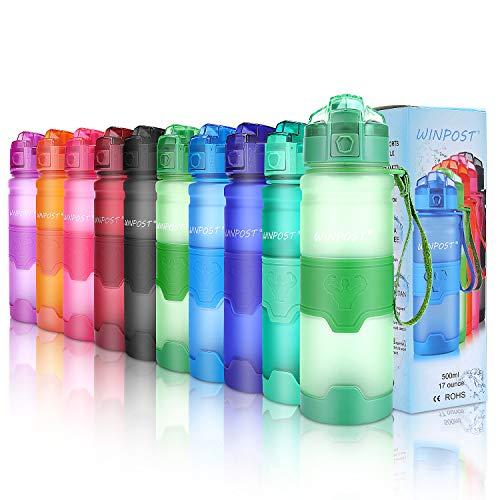WINPOST Botella de Agua Deporte 500ml/700ml/1l, sin bpa tritan plastico, Reutilizables a Prueba de Fugas Botellas Potable con Filtro para niños
