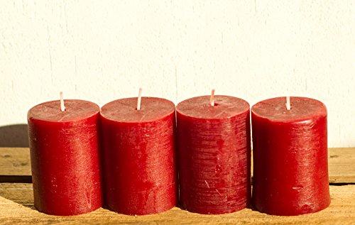 SET: 4x Rustik-Stumpenkerze, 8 x 5 cm Ø, rubinrot-bordeaux