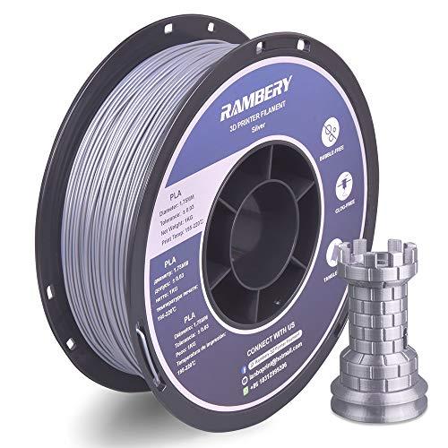 PLA Filament 1.75mm RAMBERY PLA 3D Drucker Filament PLA 1kg Spool (2.2lbs) Silber