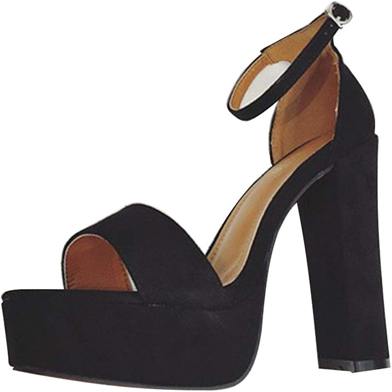 Sandals Women's high Heels Summer sandals Stiletto Women's sandals New Wild Women's shoes one-Button high Heels Waterproof Platform high Heels (color   Black, Size   38)